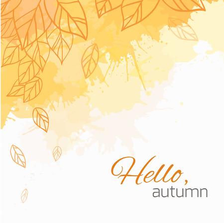Cubierta del vector del otoño con las hojas del doodle y manchas amarillas y anaranjadas para su negocio Foto de archivo - 43633650