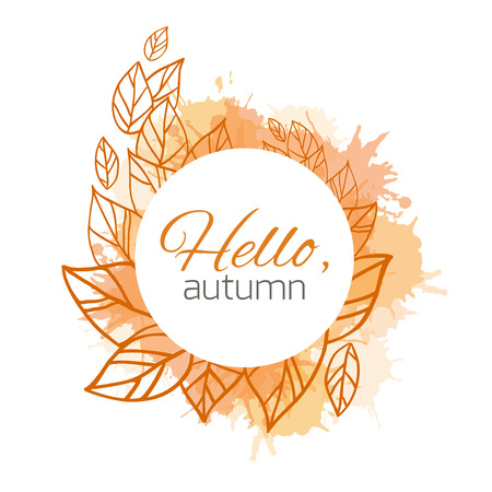 fall fashion: Autumn vector cover  with doodle leaves and yellow and orange blobs for your business
