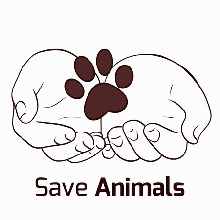Illustration on the theme of saving animals with human hands and foot of an animal for a logo, flyers and your creativity