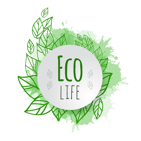 落書き緑葉でカバーをベクトル、テキスト用のスペースとエコ生活をテーマにスプレー  イラスト・ベクター素材