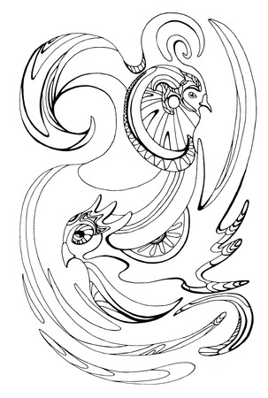 birds of paradise: Illustration with stylized black and white birds of paradise for forms, coloring, scrapbooking, and your creativity