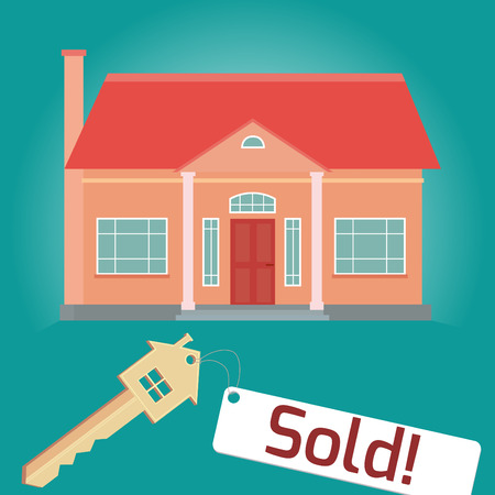 home sales: Illustration on the theme of home sales. House, key tag. Flat.