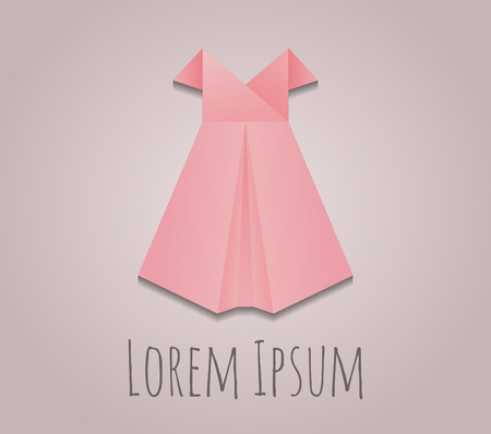 girl dress: Vector origami paper dress for your design.