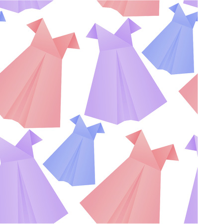 Seamless pattern with paper origami womens dresses