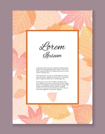 本文の場所と秋のカード。感謝の手紙。招待状。