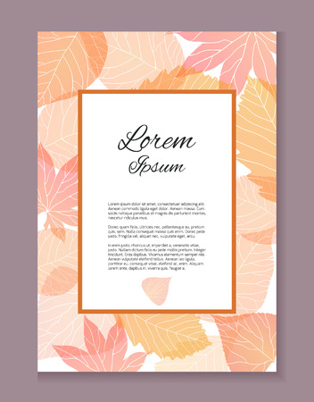 Autumn card with place for text.The letter of thanks. Invitation. Illustration