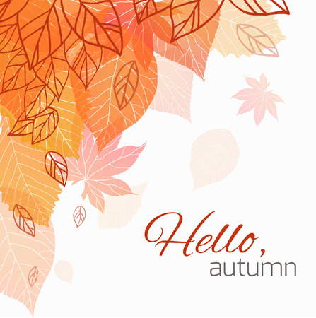 Autumn cover  with doodle leaves and transparent leaves for your business Illustration