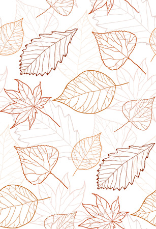 Seamless autumn pattern with colored leaves contours for creativity Illustration