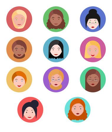 various: Set flat various portraits of the women