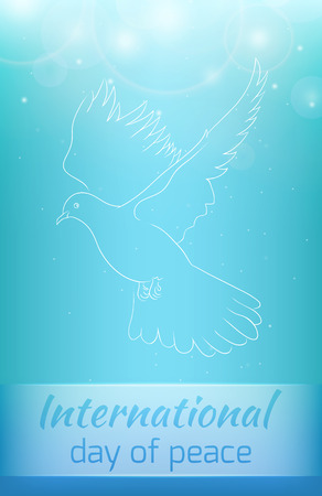 Greeting card with a flying dove with sequins. peace Day Illustration