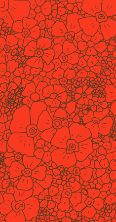 japanese style: Hand-drawn flowers on a red background for your creativity Illustration
