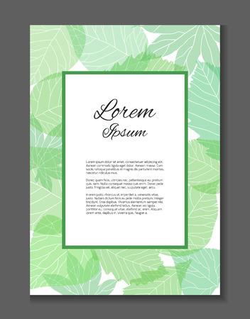 テキストの場所を持つベクトル カード。感謝の手紙。招待状。緑の葉と