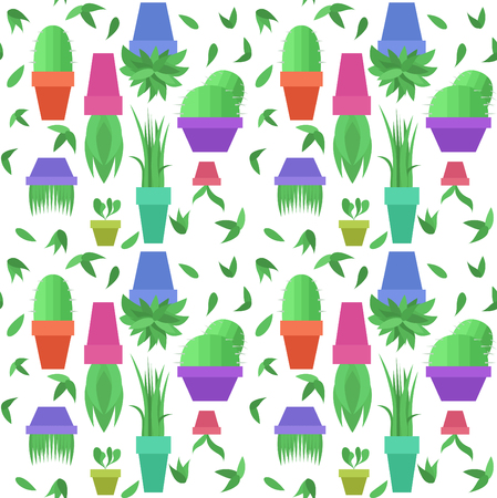 houseplants: eamless vector pattern with green leaves and pots with houseplants for your creativity