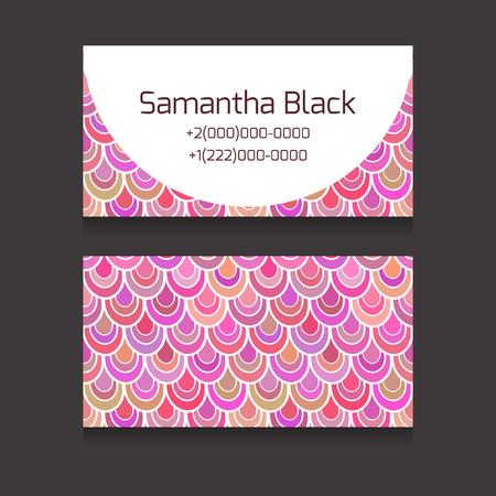 escamas de peces: Plantilla dos caras tarjetas de visita con escamas de los peces de color rosa y el lugar de texto para su negocio