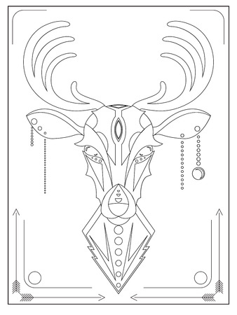 hoofed: Linear illustration of a deer in the ethnic style of logos, prints on T-shirts, bags and your creativity Illustration