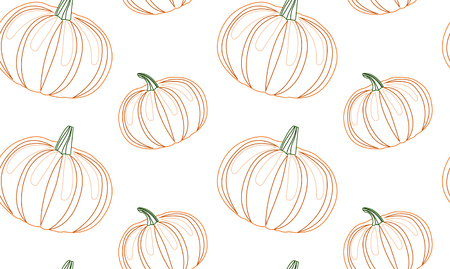 delineation: Seamless pattern with contour pumpkins for your creativity