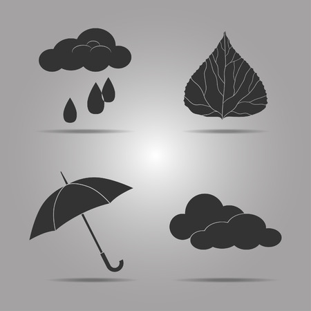 ash cloud: Set icon templates on the theme of autumn for your design