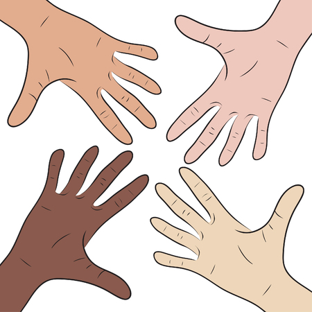 nationalities: Illustration with hands of people of different nationalities
