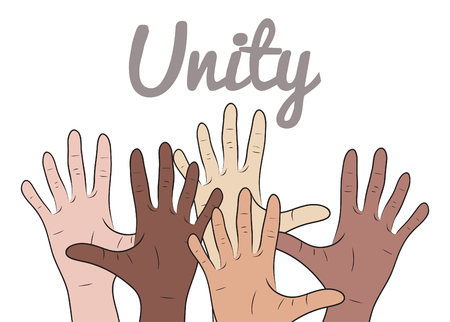 mixed race: Illustration with hands of people of different nationalities on  theme of the unity of  peoples