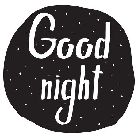 buonanotte: Scrittura a mano tipo di carattere con un augurio Buona notte per la progettazione