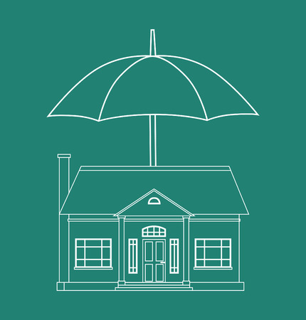 him: Outline the house and an umbrella over him. Protection of property insurance.