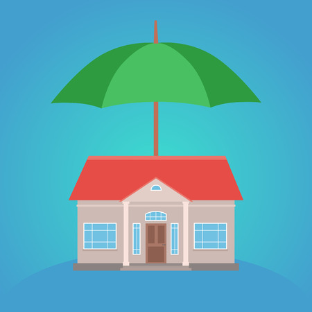 him: Flat illustration of house and an umbrella over him. Protection of property insurance. Illustration