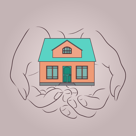 women's hand: Outline with womens hand holding of a country house. Home insurance.