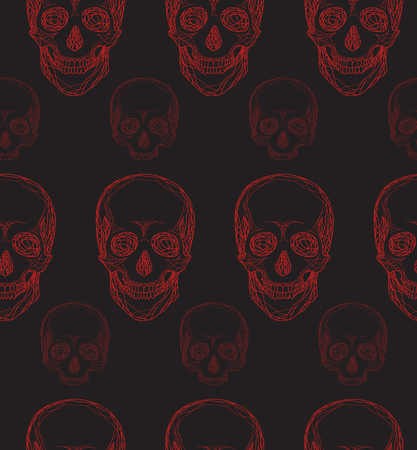 dark red: Seamless pattern with hand-drawn red skull for your design