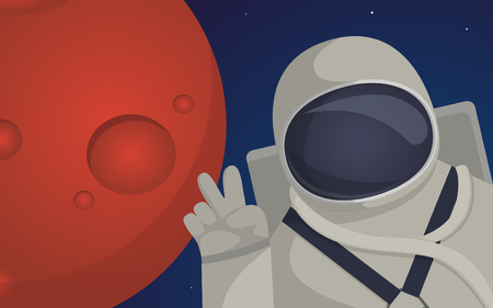self discovery: Illustration on theme of colonization of planet Mars mission