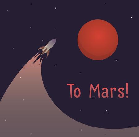 colonization: Illustration on theme of colonization of planet Mars mission