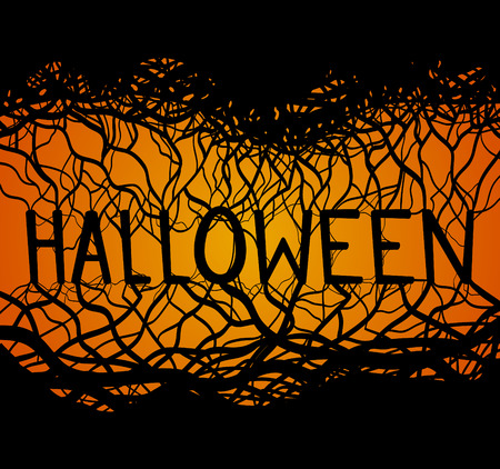 background graphic: Illustration of Halloween with roots and branches for your creativity