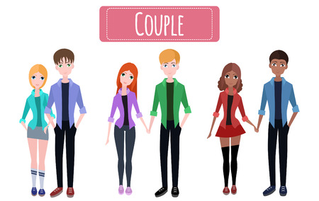 family discussion: Set flat couples for your creativity Illustration