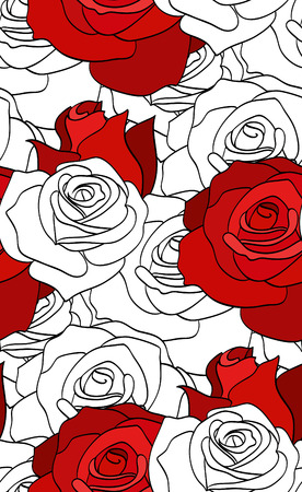 red rose: Seamless pattern with red and white roses for your creativity