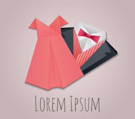 dress suit: Illustration of origami  mens suit and lady dress for logos for your design