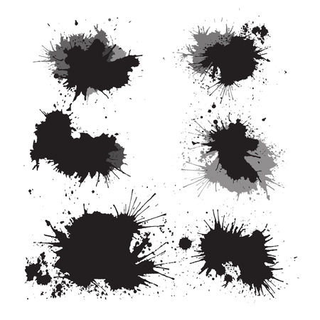 Set of ink splashes for your design Çizim