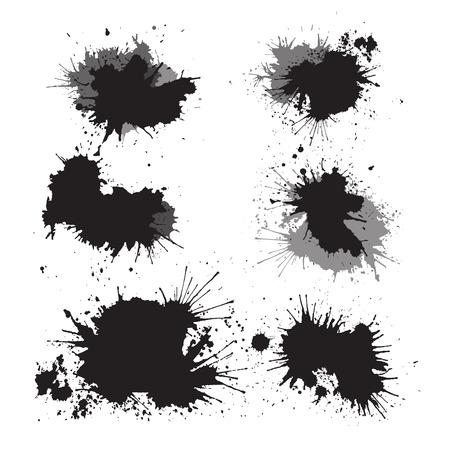 Set of ink splashes for your design Stock Illustratie