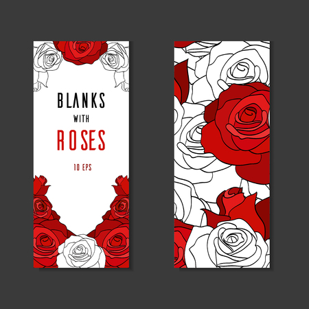blanks: Double sides blanks with painted roses and place for text for your design