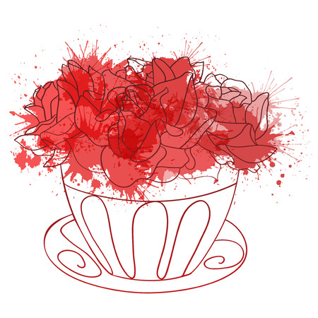 doodle art clipart: Illustration with a bouquet of roses in a vase and watercolor splashes for the invitation and your creativity