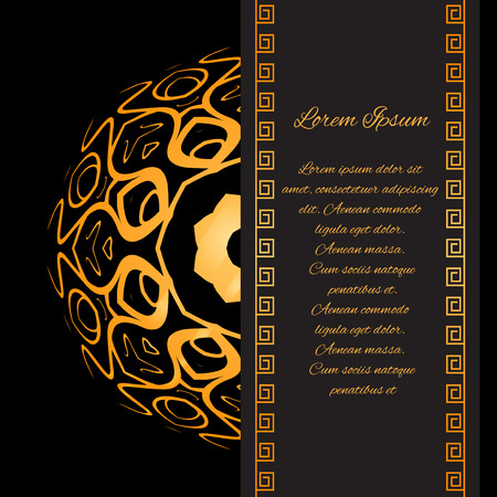 layout template: Template invitation style Gatsby with gold pattern and place for text for your design
