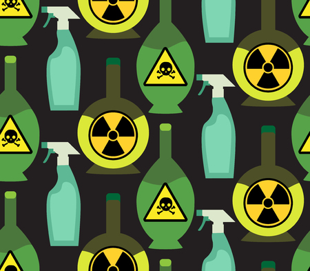 poisonous substances: Seamless pattern with toxic chemicals in the bottles for your creativity
