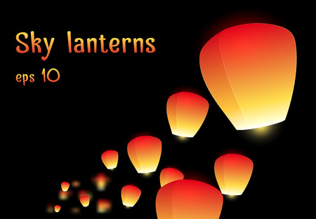 aglow: Illustration of a flying sky lanterns for your creativity Illustration