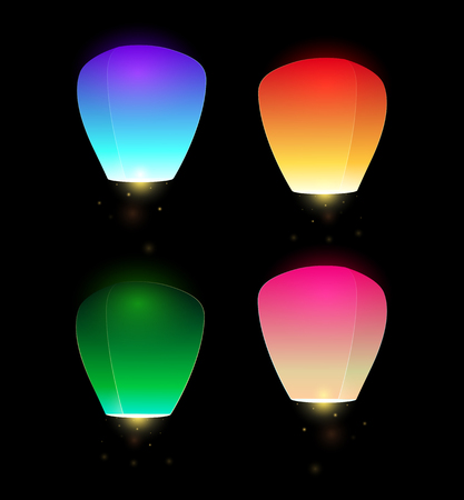 aglow: Set of colorful flying sky lanterns for your creativity