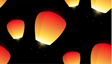 Seamless pattern with flying sky lanterns on a dark background for your creativity