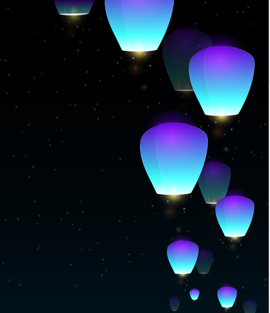 desire: Illustration of blue flying sky lanterns for your creativity