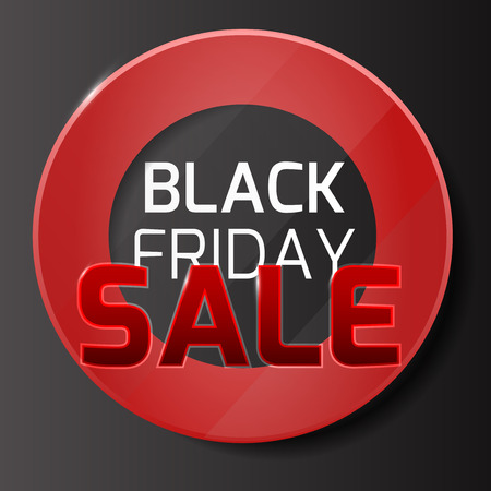 volume discount: Black friday sale background with red glass and circle range for your business Illustration