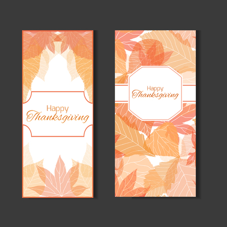 feast day: Set  invitation to the feast day of thanksgiving with autumn leaves for your design Illustration