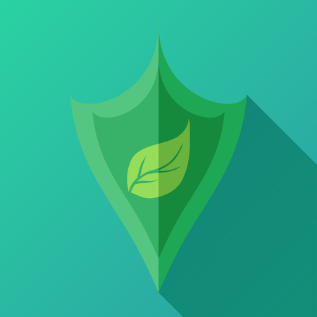 enviroment: icon with shield and green leaf for your business. Enviroment protection. Illustration