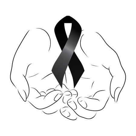 condolence: Black mourning ribbon in the hands
