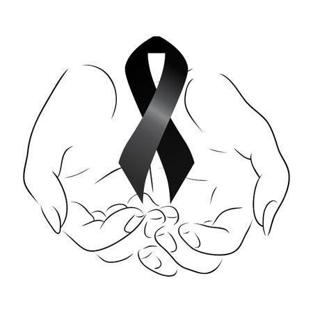 melanoma: Black mourning ribbon in the hands