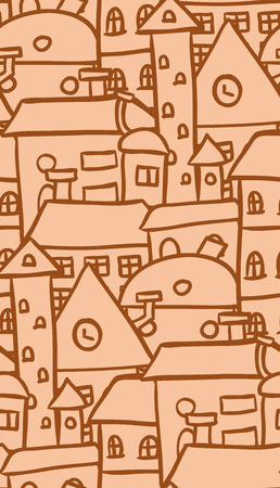 ocher: Seamless doodle pattern with ocher houses for your creativity